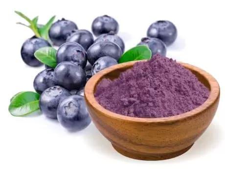 Blåbärspulver har alla fördelar som färska blåbär har, plus att de har fördelen att det är ett pulver